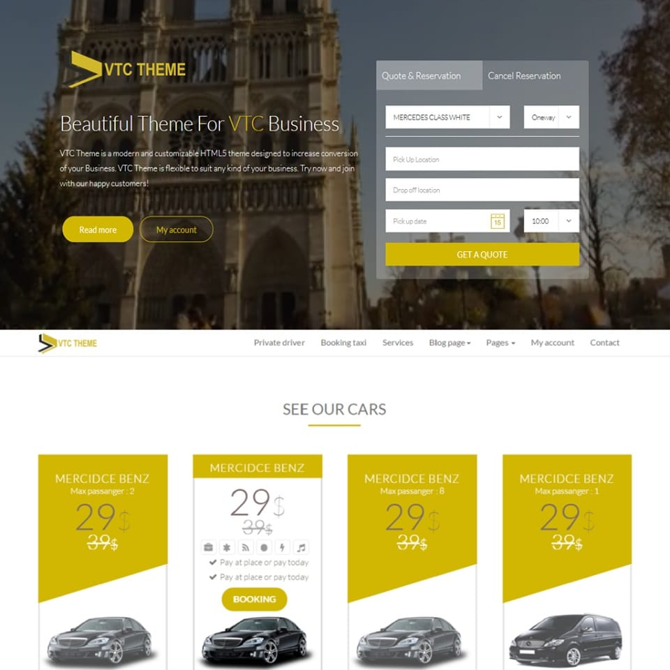 VTC THEME : WordPress taxi theme
